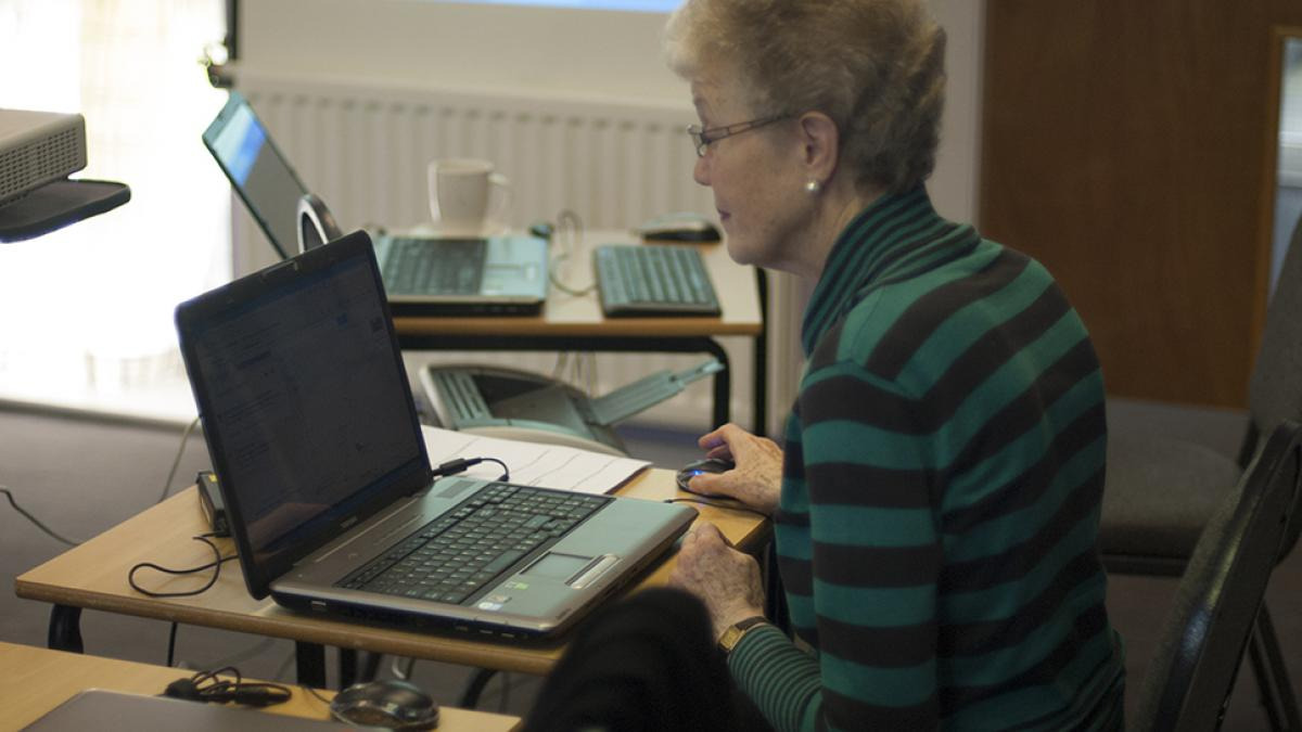 Woman using a laptop computer