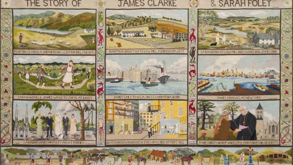 Tapestry depicting the history of Clarke Foley